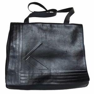 KRIZIA Messenger Bag Large Black Leather